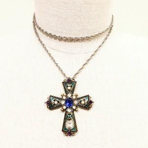 Vintage polished enamel & pearl gold cross pendant